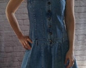 Vintage 90 39 s 1990 39 s Dmbm Jean Dress, Fitted Denim Dress, Cowgirl Dress, Western, Sleeveless, Retro, Size Large, Made in USA , Dropped waist