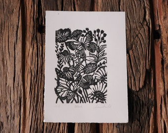 Hand Carved Wood Block Print Black & White Flowers