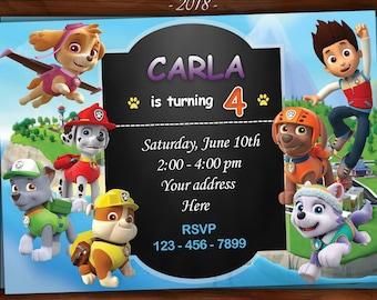 Paw Patrol InvitationPaw Birthday PartyPaw Invitation Printables Digital