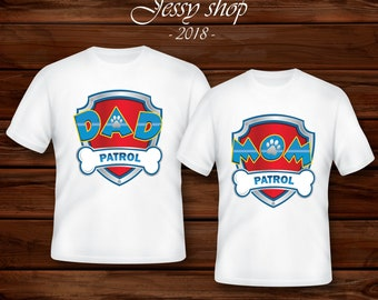471c970d Paw Patrol Mom and Dad iron on transfers Paw Patrol Family Birthday set of  2 iron on T-shirts. Paw Patrol Daddy Mommy Birthday Party