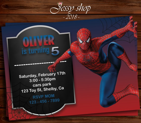 Spiderman Invitation Spiderman Invite Spiderman Party Etsy