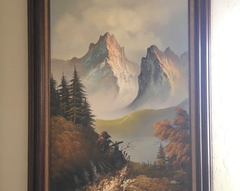Mountain Oil Painting Path Oil Painting Landscape Painting BobRoss Style Art Wall Art Framed Painting