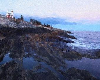 Pemaquid Point Lighthouse Maine 8x10 Brushstroke Digital Art Print