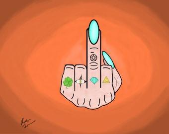 Middle Finger, Instant Download, Print