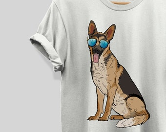 dff24e759 German Shepherd Dog T-Shirt, Funny Dog Lover Sunglasses T-Shirt Kids  Adults, Cute Dog T-Shirt Gift for Mom Dad, Short Sleeve Unisex T-Shirt