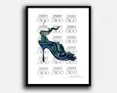 Custom Framed ,Fashion Illustration, by Fairchild Paris, Vintage ,Jimmy Choo Advertising