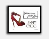 Custom Framed ,Fashion Illustration, by Fairchild Paris, Vintage , Jimmy Choo Advertising