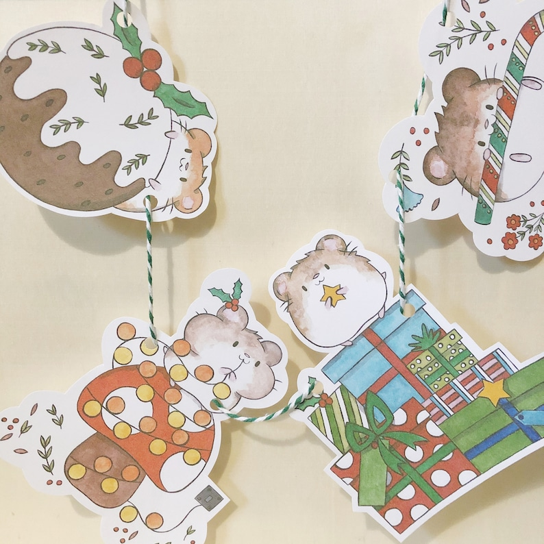 Hamster Christmas Bunting and Gift Tags hamster haven rescue image 0