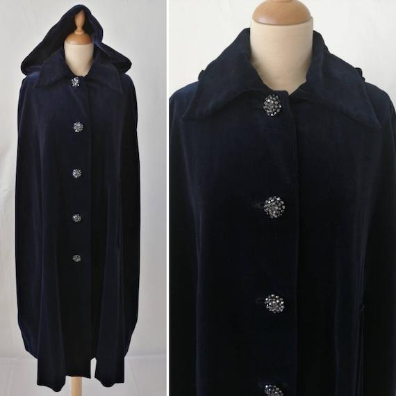 1960s cape vintage, blue velvet cape, original 60s