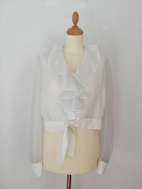 Chiffon blouse, vintage white blouse, see through,
