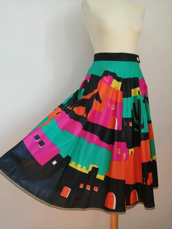 70s skirt, vintage maxi skirt, ethnic skirt, color