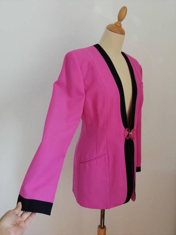 Vintage pink blazer, 80s pink jacket, disco blaze… - image 6