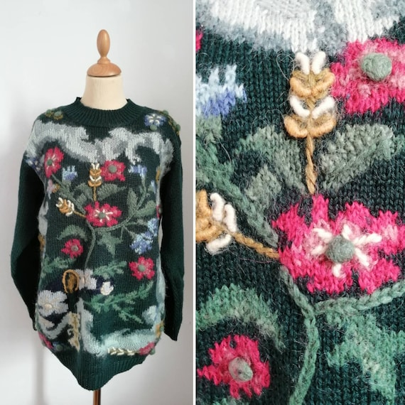 Vintage embroidered sweater, 80s green jumper, flo