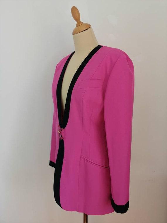 Vintage pink blazer, 80s pink jacket, disco blaze… - image 4