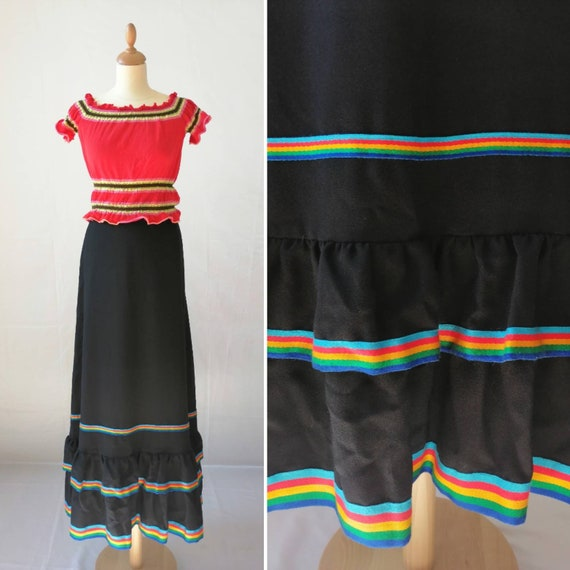 Vintage frill skirt, long black skirt, flamenco sk