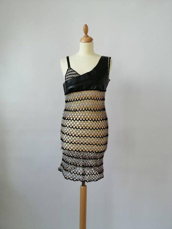 Crochet dress, vintage 90s dress, see through dres