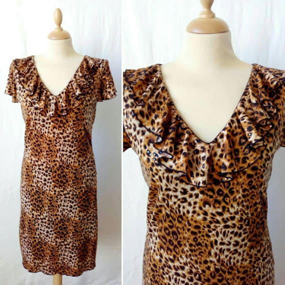 Vintage leopard dress, 90s rock dress, animalier p