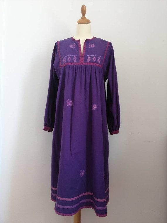 Indian cotton gauze dress, vintage 70s cotton gauz