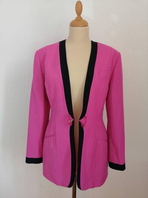 Vintage pink blazer, 80s pink jacket, disco blaze… - image 9