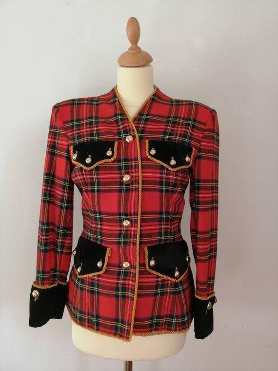 80s vintage tartan plaid blazer, Scottish tartan j