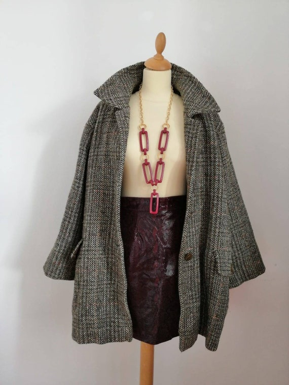 80s skirt, vintage leather skirt, burgundy red ski