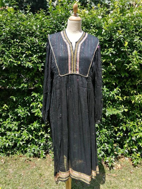 Indian cotton gauze dress, vintage 70s Indian dres
