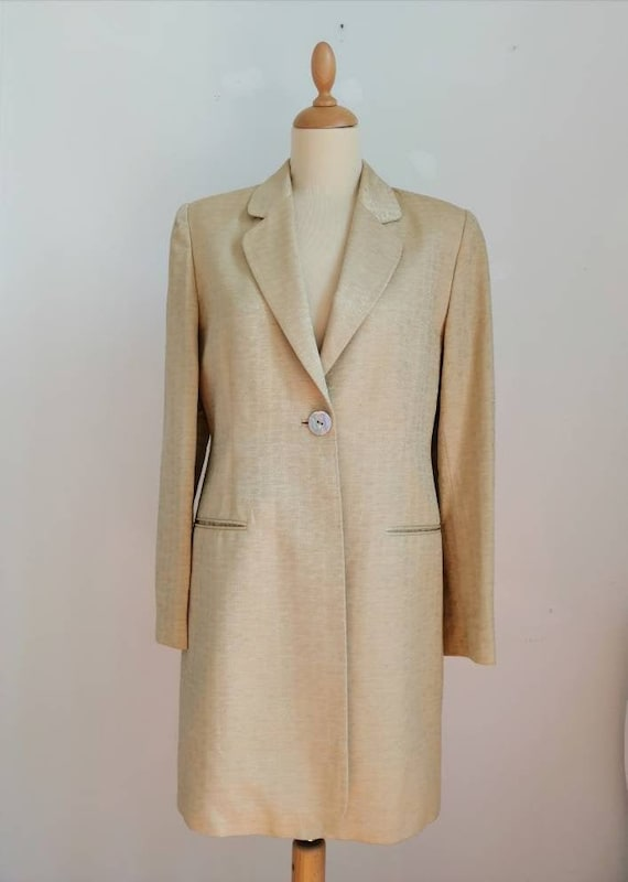 Vintage 90s coat, mod duster coat, golden trench,
