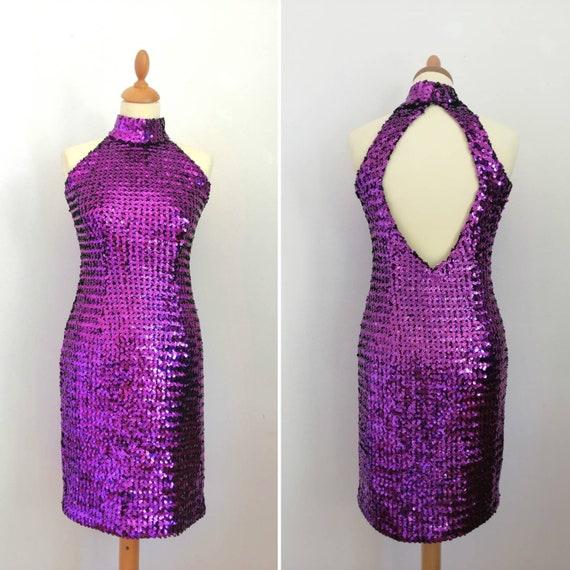 80s sequins dress, violet dress, naked back dress,