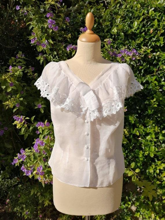 Vintage camisole, organdy blouse, antique corset c
