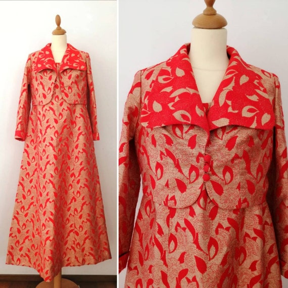 60s suit, red vintage suit, gold dress, flared max