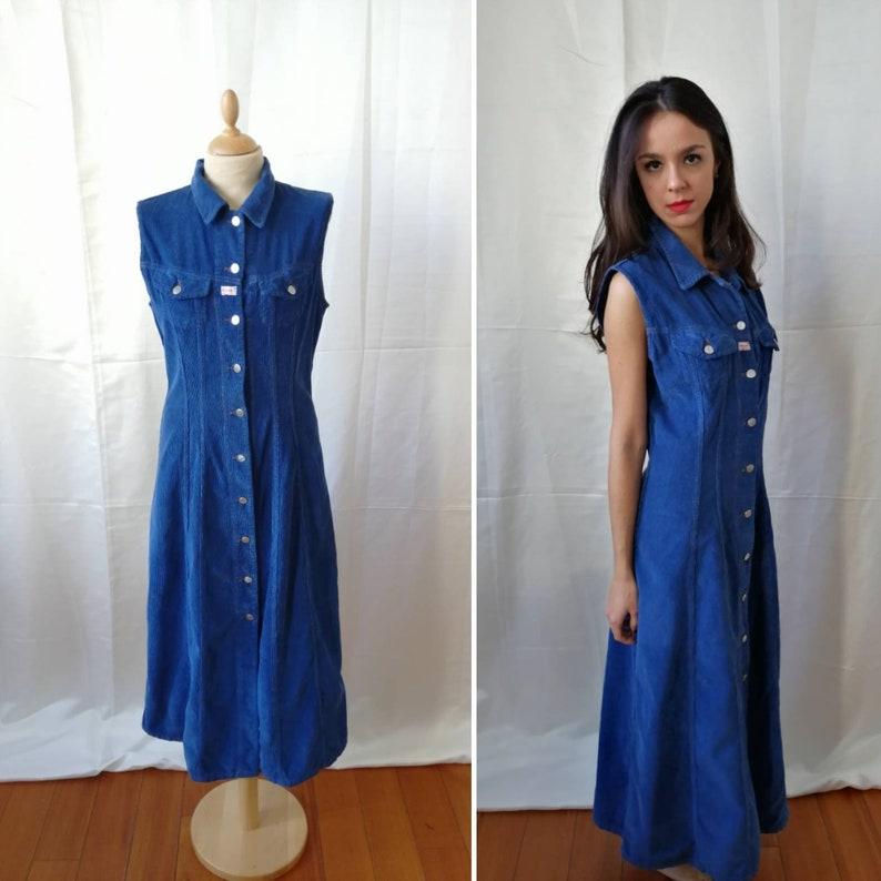 e3991962de8 90s vintage blue velvet dress blue corduroy dress street