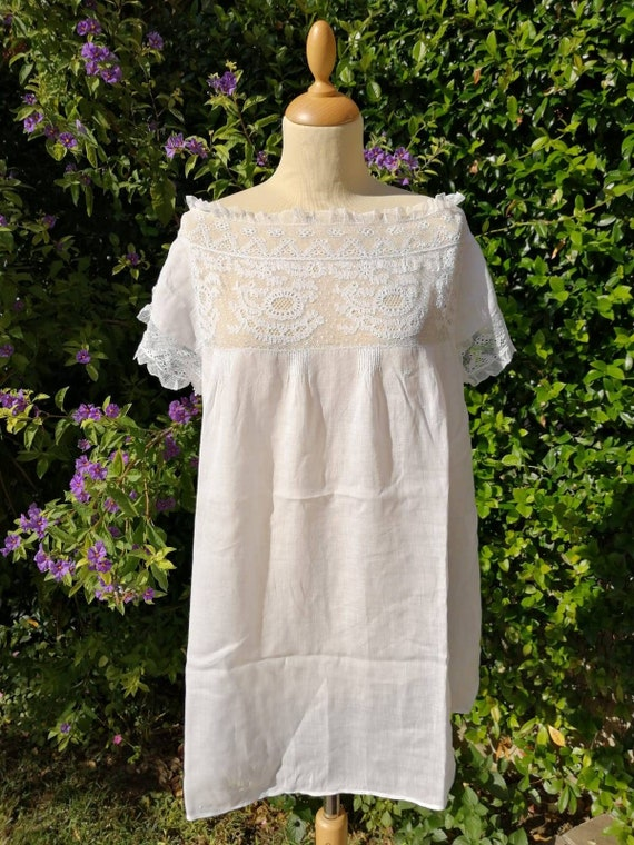 Antique Edwardian Victorian cotton camisole, 1900s