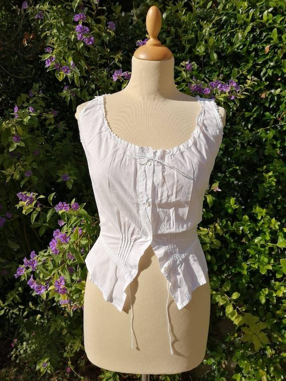 Antique Edwardian Victorian camisole, white cotton