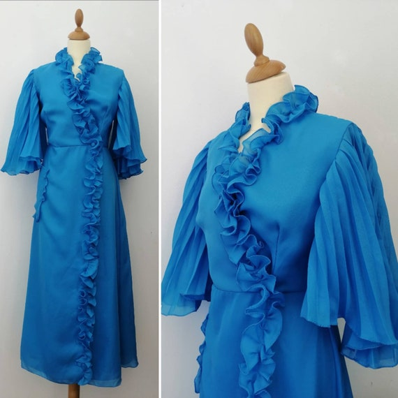 70s nightgown, vintage 70s robe, blue robe, 1970s