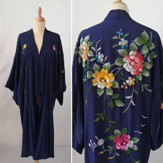 1930s blue silk kimono, vintage embroidered Japane
