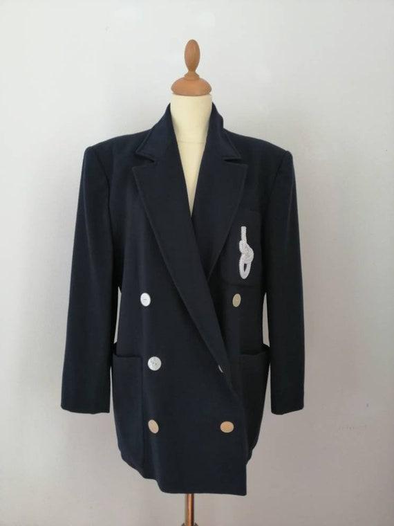 Sailor blazer, Genny jacket, vintage blazer, blue