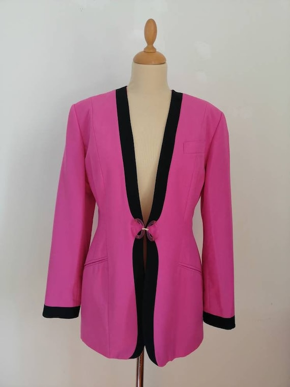Vintage pink blazer, 80s pink jacket, disco blazer
