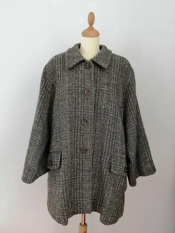 Plaid coat, vintage woolen coat, 70s coat, pockets