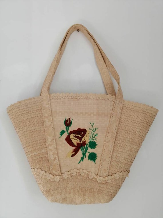 Vintage straw bag, 50s straw handbag, embroidered