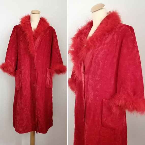 60s dressing gown, vintage neglige, red marabou dr
