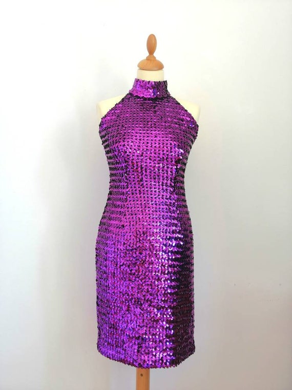 80s sequins dress, violet dress, naked back dress,