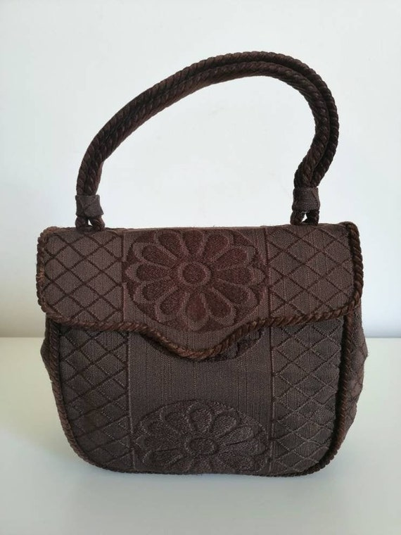40s Vintage bag, 40s brown purse, authentic 40s, e