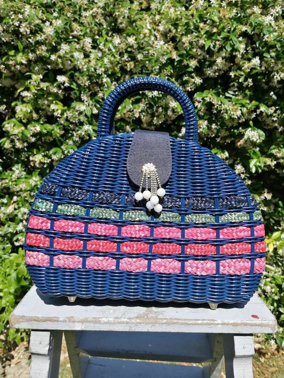 Vintage 50s wicker bag, trim wicker handbag, blue