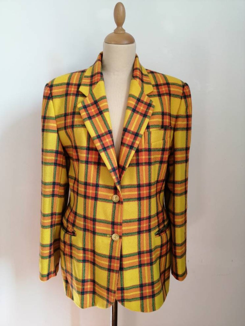 wool colorful blazer POP 84 yellow tartan blazer yellow tartan plaid blazer Vintage 80s checked blazer vintage oversize tartan blazer