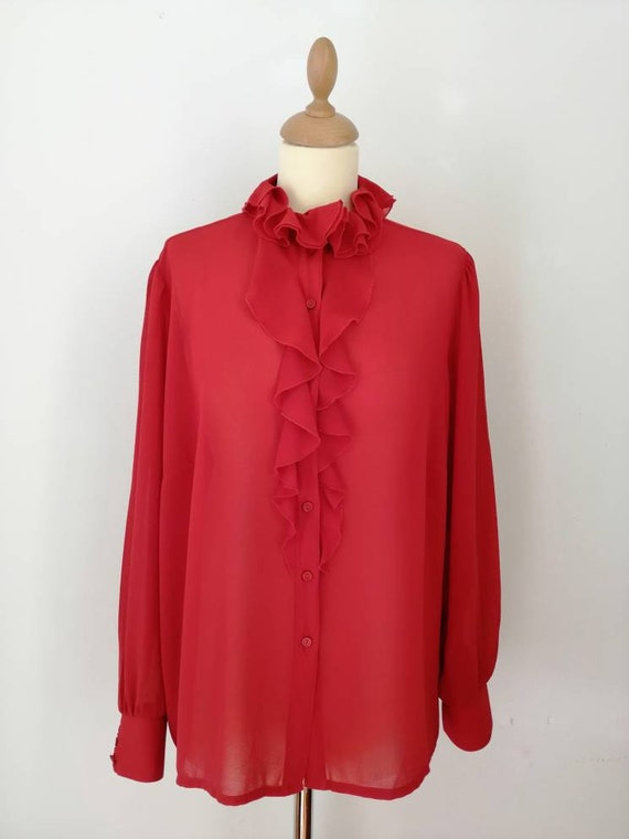 Frills blouse, vintage red blouse, 80s blouse, red