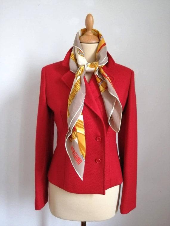 Vintage red blazer, vintage 90s blazer, wool jacke