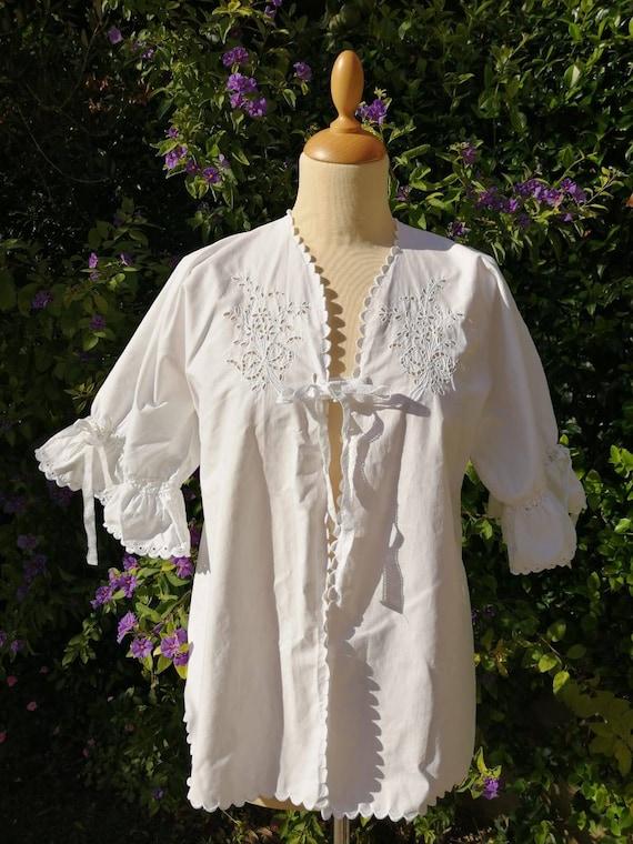 Original Vintage Antique Edwardian White Embroidered Lace Cotton Peasant Lawn Blouse 10 12