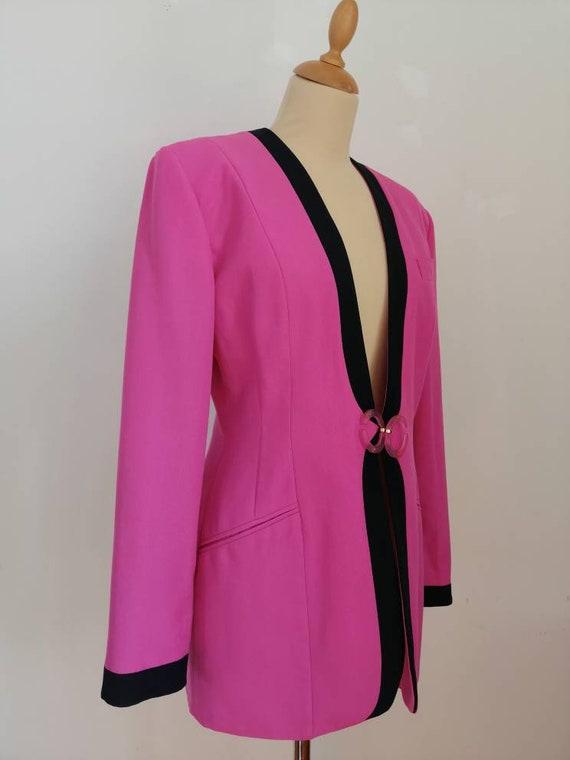 Vintage pink blazer, 80s pink jacket, disco blaze… - image 2