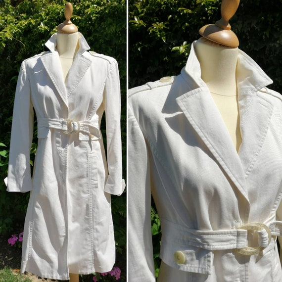 Vintage Aigner trench, 90s white trench, Etienne A