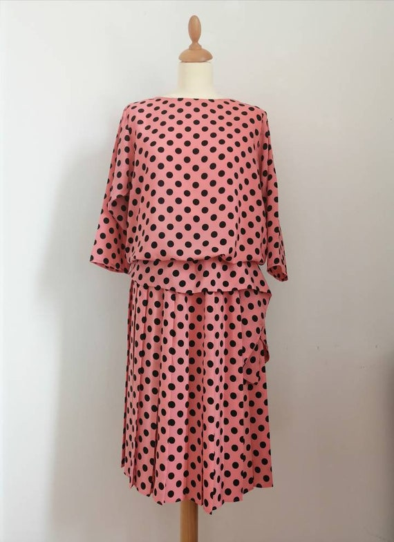 Vintage polka dot dress, 80s cocktail dress, vinta